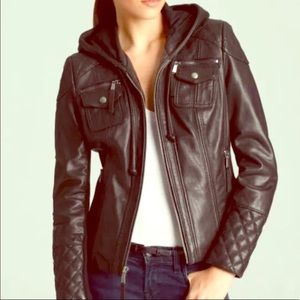 Michael Kors Gray Quilted Leather Hood Jacket